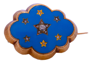 Pre Owned diamond set turquoise & enamel brooch