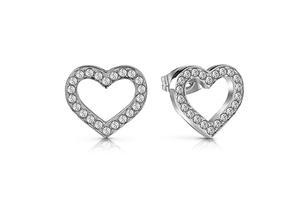Guesss stone set heart earrings