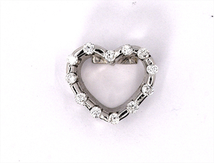 18 carat white gold diamond set heart pendany