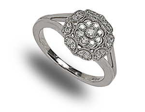 9 carat white gold split shoulder diamond cluster ring