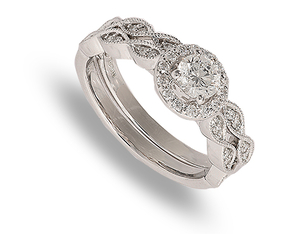 9 carat white gold bridal ring set
