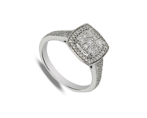Nine carat white gold square diamond halo cluster ring