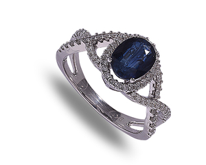 9 carat white gold sapphire & diamond cluster ring