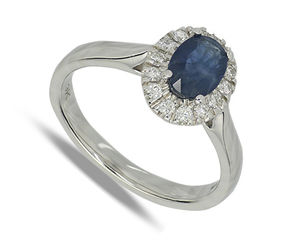 Nine carat white gold sapphire and diamond cluster ring