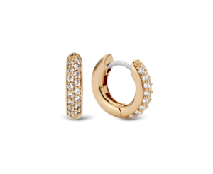 Ti Sento sterling silver gold plated CZ hoop earrings