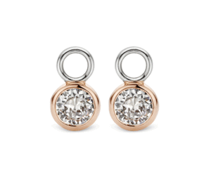 Ti Sento sterling silver rose gold plate CZ ear charms