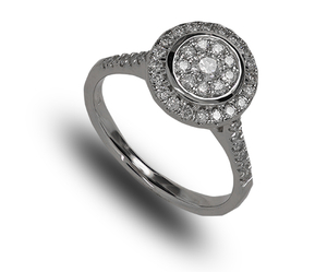 9 carat white gold diamond cluster ring