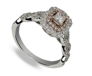 Nine carat  white and rose gold diamond cluster ring with princess cut centre