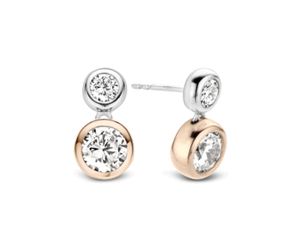 Ti Sento sterling silver rose gold plated CZ drop earrings
