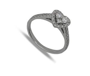 Nine carat white gold Heart Shaped Diamond Cluster Ring