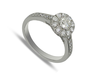 Eighteen carat white gold diamond cluster ring