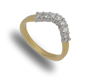 18 carat yellow and white gold shaped diamond eternity ring