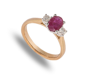 9 carat yellow and white gold ring set with 2 diamonds and 1 ruby