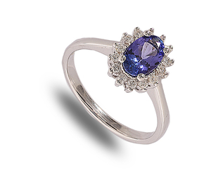 9 carat white gold tanzanite and diamond cluster