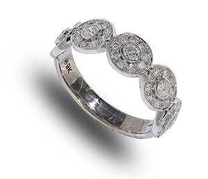 9 carat white gold diamond multi cluster band ring