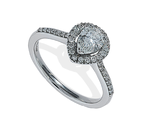 Platinum pear diamond halo cluster ring