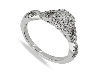 Nine carat white gold diamond multi stone cluster ring