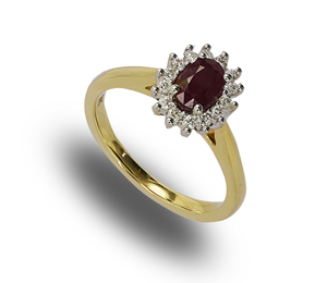 9 carat gold ruby and diamond cluster ring