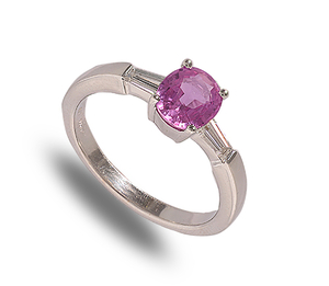 18 carat white gold pink sapphire and diamond ring
