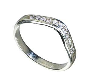 9 carat diamond set curved wedding band