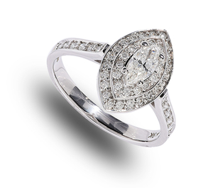 9 carat white gold marquise diamond cluster ring