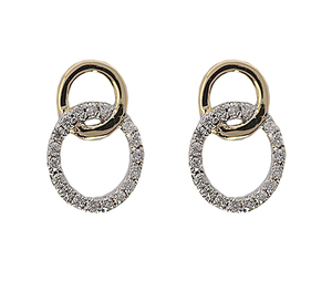9 carat gold diamond circle stud  earrings