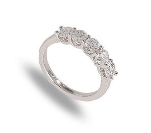 9 carat white gold five diamond band ring full carat total