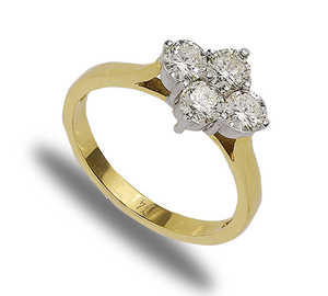 18 carat gold four diamond cluster ring