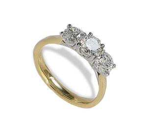 18 carat gold three diamond ring