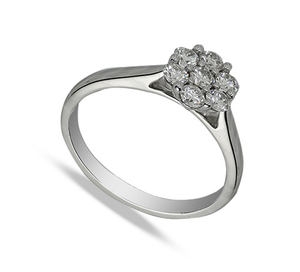 Nine carat white gold half carat diamond ring