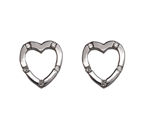 9 carat white gold diamond set heart earrings