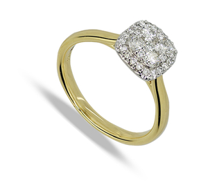 Eighteen carat gold square diamond cluster ring