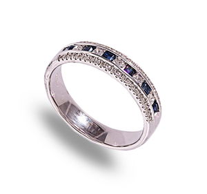 9 carat white gold sapphire & diamond band ring