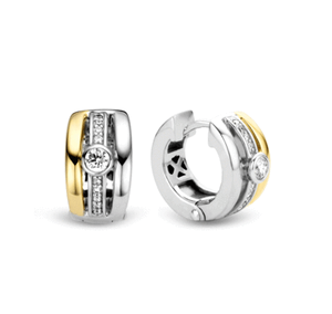 Ti Sento sterling silver CZ set hoop earings, yellow gold plated