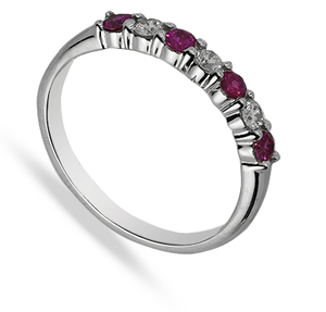 9 carat white gold ruby and diamond half band ring