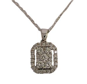 9ct white gold diamond pendant and earrings
