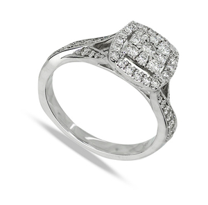 Nine carat white gold square diamond cluster ring