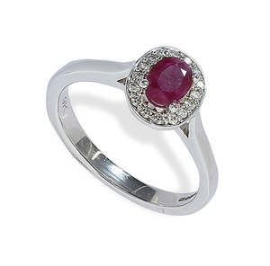 9 carat white gold ruby & diamond cluster ring