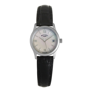 Rotary Ladies Mother of Pearl Black Strap Watch