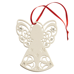 Belleek Living Angel with Gems Tree Ornament