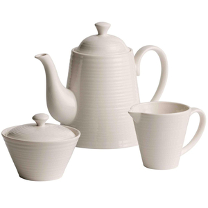 Belleek Living Ripple Beverage Teapot, Sugar & Cream Set 7984
