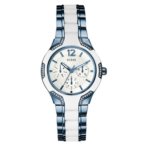 GUESS Ladies Center Stage Blue and White 38mm Bracelet Watch (W0556L9)