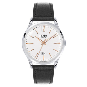 Henry London Highgate Gents 41mm Black Leather Strap Watch (HL41-JS-0067)