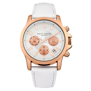 Daisy Dixon Ladies Adriana White 38mm Leather Strap Watch (DD002WRG)
