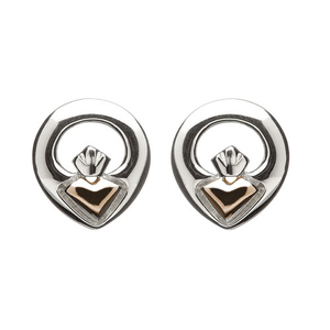House of Lor Silver & Rose Gold Claddagh Stud Earrings (H30014)