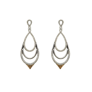 House of Lor Silver & Rose Gold Chandelier CZ Earrings (H30016)