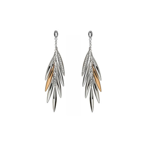 House of Lor Silver & Rose Gold CZ Feather Drop Earrings (H30003)