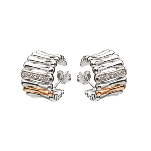 House of Lor Silver & Rose Gold CZ Huggie Earrings (H30002)