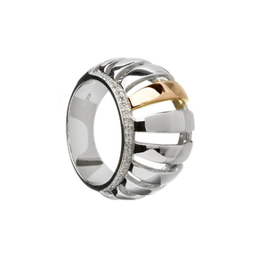 House of Lor Silver & Rose Gold CZ Chunky Ring (H20003)