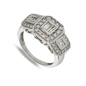 9 Carat White Gold Three Diamond Cluster Ring (0.50ct)